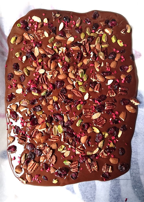 chocolate with pistachios, pecans, almonds and cranberries