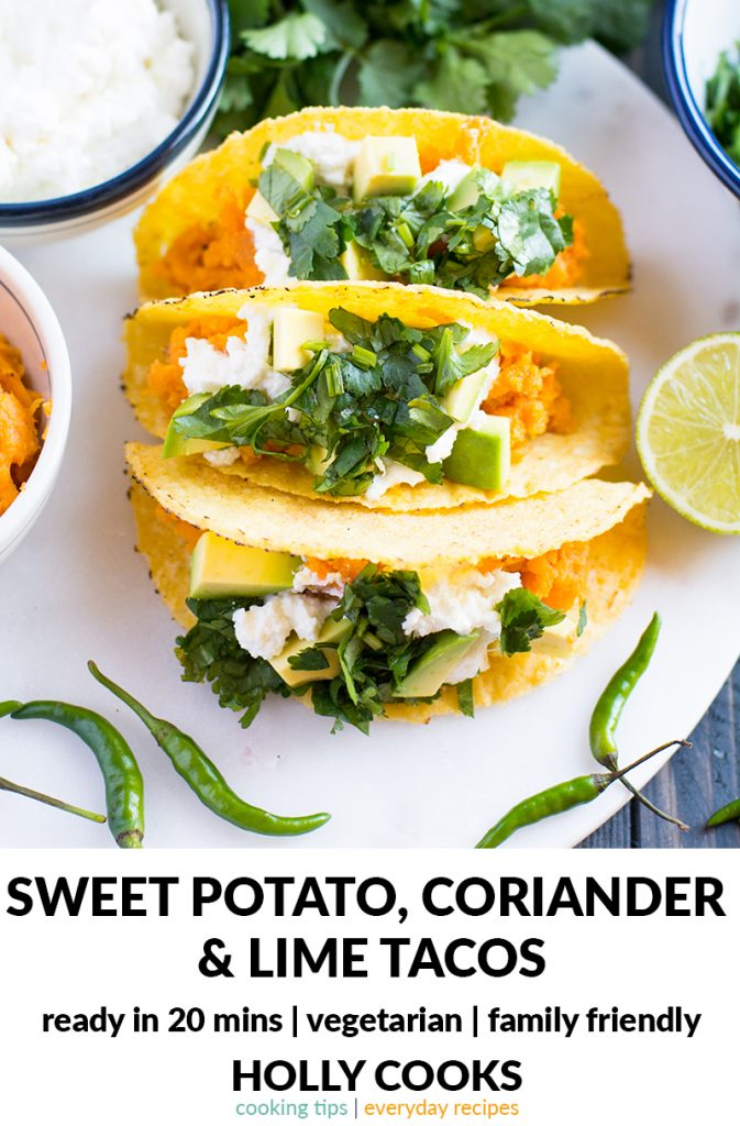 Sweet potato, coriander and lime tacos   20 minutes recipe   easy recipe   midweek recipe   everyday recipe   sweet potato   coriander   chilli   lime   ricotta   family friendly recipe   recipe to eat with kids   healthy recipe  
