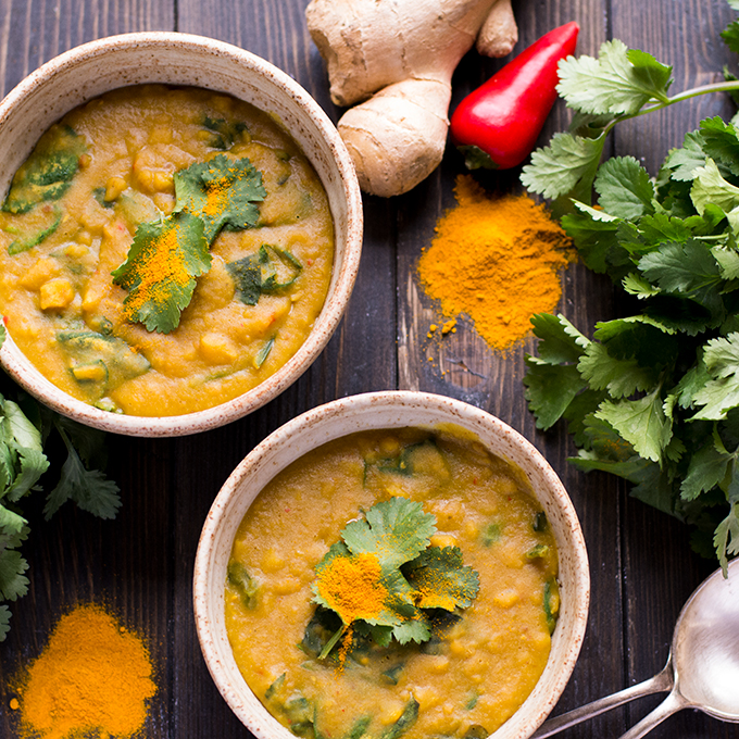 Spinach dahl soup