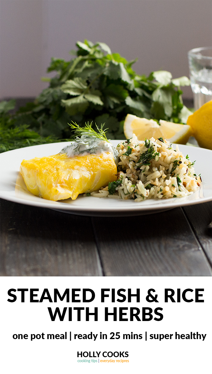 steamed fish with rice and herbs | smoked haddock | steamed rice | rice | dill | herbs | coriander | cilantro | healthy recipe | quick recipe | healthy dinner | healthy lunch | healthy meal |
